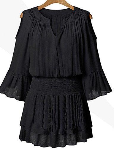 LYQ/ Robe Aux femmes Grandes Tailles Sexy / Vintage / Travail / Décontracté / Mignon , Couleur Pleine / Mosaïque Col en V Au dessus du genou black-3xl