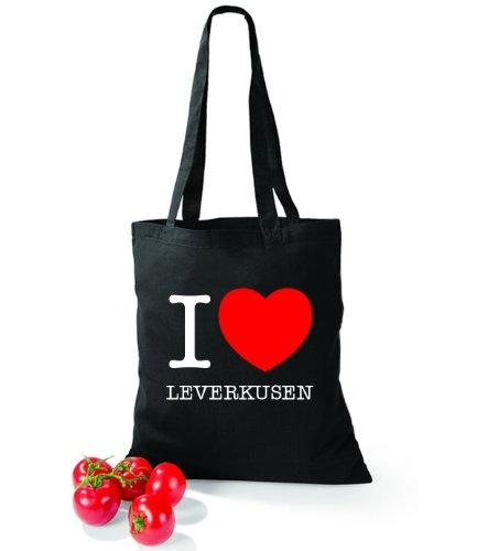 7de6456cbf588 Artdiktat Baumwolltasche I love Leverkusen Schwarz -muesys-3d-druck.de