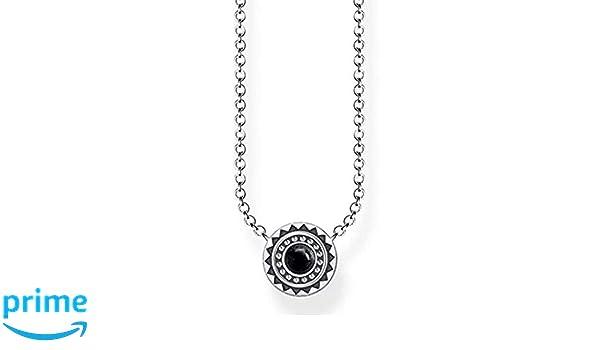 3e0484658 Thomas Sabo Women's 925 Sterling Silver Glam and Soul Ethno Black Necklace  of Length 45 cm KE1672 704 11 L45v: Amazon.co.uk: Jewellery