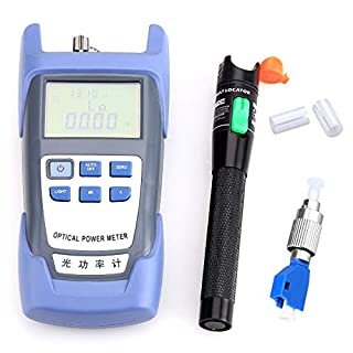 Fiber Optical Power Meter with 30mW 30KM Aluminum Visual Fault Locator FC-LC Adapter Fiber Optic Cable Tester Checker Test Tool for CATV Telecommunications Engineering Maintenance