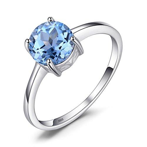 Jewelrypalace runder 1.6ct natürlicher himmelblauer Topas Birthstone Solitaire Ring aus 925er Sterling Silber (Sterling Silber Ring Mit Edelsteinen)