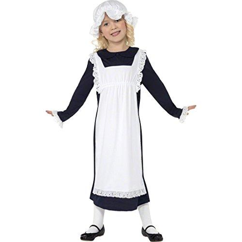 NET TOYS Kinder Dienstmädchen Kostüm Mittelalterkostüm weiß schwarz L 158 cm Maid Kostüm Mittelalter Verkleidung Karneval Kinderkostüm
