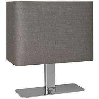 Reality Leuchten Tischlampe Tischleuchte / 1xE14 max. 40W ohne Leuchtmittel / 23 x 20 cm mit Schnurschalter, Schirm grau, Fuß chrom R50111042