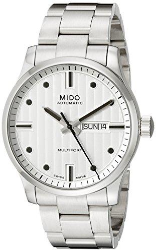 Mido Multifort M0054301103100–Montre-Bracelet pour Homme en Acier Inoxydable, Argent Sangle