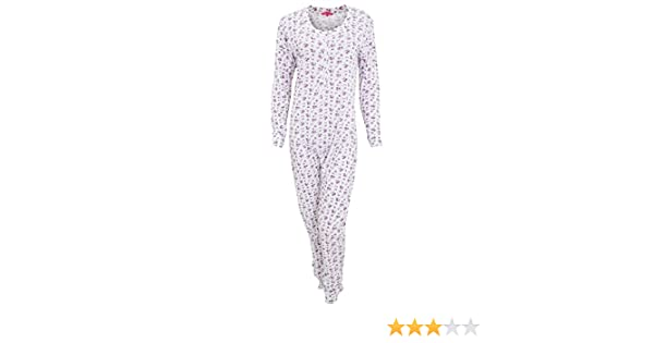 Womens Ladies Thermal Floral Pattern All in One Bodysuit (Medium (14-16  UK)) (White Purple)  Amazon.co.uk  Clothing 119754c05