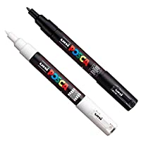 Posca PC-1M Paint Art Marker Pens - Fabric Glass Metal Pen - Set of Black + White (1 of each)
