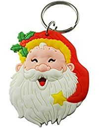 Techpro Rubber Keychain Doublesided With Christmas Papa Santa Claus Face Design