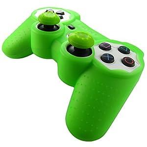 Pandaren® Silikon hülle skin für PS3 controller (grün) x 1 + thumb grip aufsätze x 2
