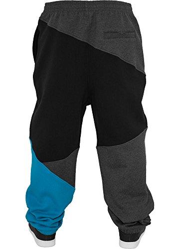 URBAN CLASSICS Zig Zag Sweatpants Jogginghose TB286 Charcoal/Black/Turquoise