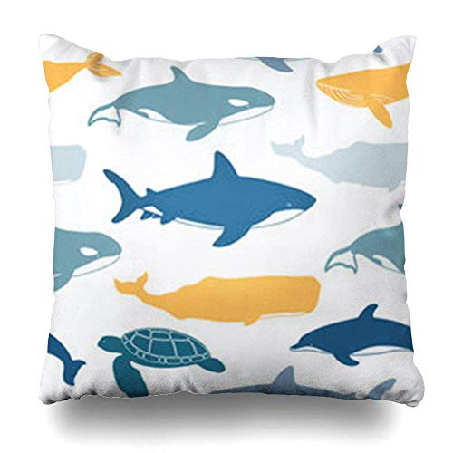 Zierkissenbezüge, Throw Pillow Covers, Dive Sea Great White Shark Turtle Atlantic Water Bottlenose Dolphin Whales to Wildlife Orca Pillowcase Square Size 18 x 18 Inches Home Decor Cushion Cases -