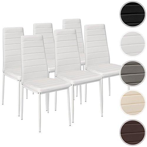 TecTake Set di sedie per sala da pranzo 41x45x98,5cm - disponibile in diversi colori e quantità - (6x Bianco | No. 401850)