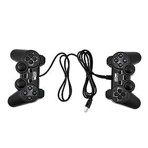 Taidda Universal Shock Vibration Doppel-Joystick, 2 STÜCKE USB-Kabel Game Controller Gamepad Doppel-Shock Vibration Doppel-Joystick für PC