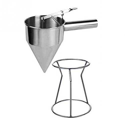 Embudo de pistón con soporte, dispensador de pancake de acero inoxidable de Jechery, dispensador de pequeñas bolas de pulpo para hacer embudos y cupcakes, dispensador de hornear con estante para utensilios de cocina y embudos