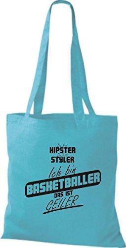 Shirtstown Stoffbeutel du bist hipster du bist styler ich bin Basketballer das ist geiler sky