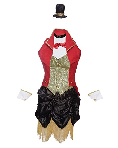 amen Circus Dompteurin Kostüm von Emma's Wardrobe – mit Rock, Jacke, Oberteil, Hut und Arm-Manschetten – Frauen Showmasterin Verkleidung für Karneval, Halloween oder Junggesellinnenabschied – Größen 34-40 (36, Rot) (Halloween-zirkus-kostüme)