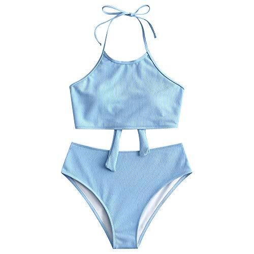 ZAFUL Damen Neckholder Bikini Set Sommer Solide Swimwear Hellblau S