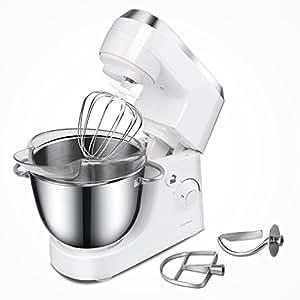 Aigostar Piccolo Mamma White 30HMA - Impastatrice da cucina elettrico da cucina 350W con ciotola in acciaio inox da 4,2 litri, tre attacchi, protezione contro gli schizzi. Design esclusivo.