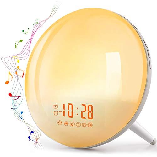 Te-Rich 2019 Wake Up Light Luz Despertador Simulación del Amanecer y Anochecer Luz LED con 2 Alarmas y 7 Sonidos Naturales,Radio FM Digital,7 colores claros,20 Niveles de Brillo