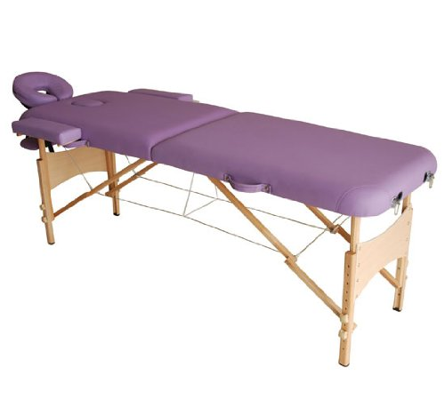 Homcom lettino da massaggio portabile massagio fisioterapia pieghevole con 2 zone 182 x 60cm viola