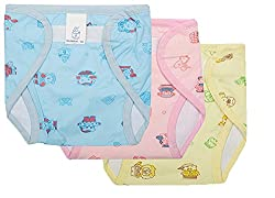 Wonder Star premium quality small baby Outside Printed PVC Plastic Waterproof Diaper Langot for 6-12 Months pack of 3 Multicolor (Assorted Mix color & Design)