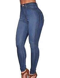 Kasen Mujer Vaqueros Levanta Cola Pantalones Cintura Alta Elásticos Denim  Pantalones 0f21aad66945