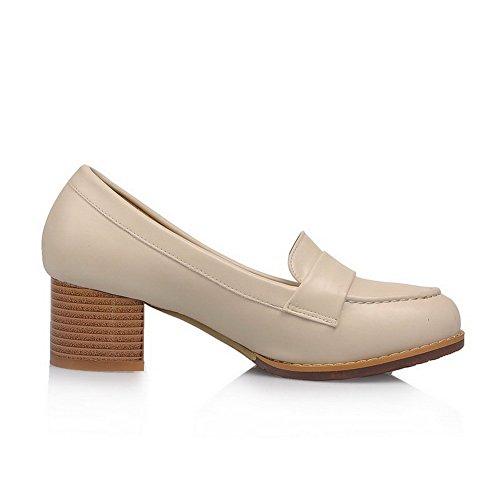 Damen PU Leder Rund Zehe Niedriger Absatz Rein Pumps Schuhe, Aprikosen Farbe, 34 AllhqFashion