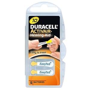 Duracell piles auditives Zinc-air, 10 / A10 / PR70, 1.4V - 6 pièces