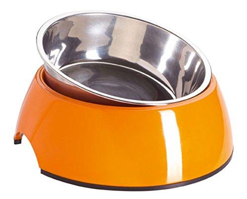 HUNTER Melamin-Napf, Futternapf, Trinknapf für Hunde und Katzen, herausnehmbarer Edelstahlnapf, 700 ml, orange