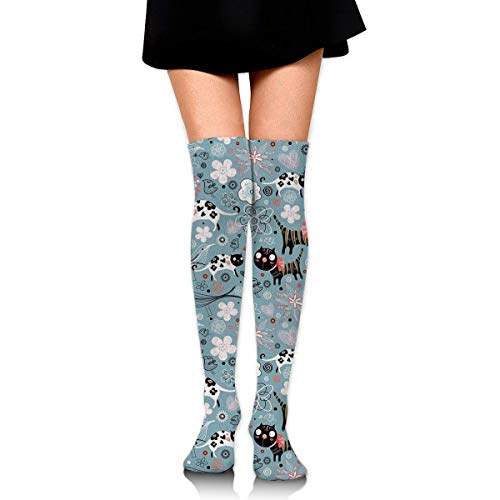 Jxrodekz Knee High Socks Cats and Flowers Long Socks Boot Stocking Compression Socks for Women