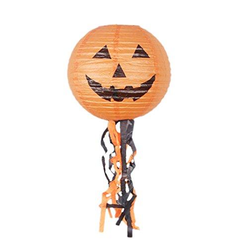Fenteer Papier Laterne Lampion Lampenschirm Deko Laterne mit Kürbis Figur und Quasten, Halloween Stil