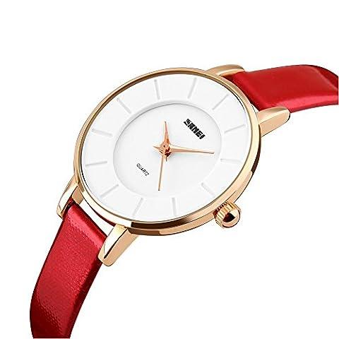 iLove EU Damen Armbanduhr Elegant 30m Wasserdicht Analog Quarz Uhr Sportuhr mit Rot Leder Armband