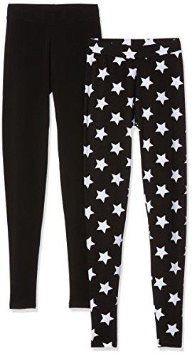 ONLY Damen Leggings, 2er Pack Mehrfarbig (Black Pack:Black Plain And Black With White Stars)