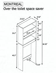Over-toilet Storage Unit -3 Shelves - Scandinavian Style