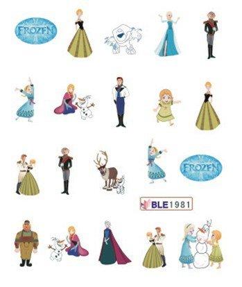 CartoonPrintDesign - 2 Stück Nagel Sticker Cartoon Water Transfer Sticker Nailart Wasser Nagelsticker Nagel Tattoo Nagelaufkleber Frozen Design - ()