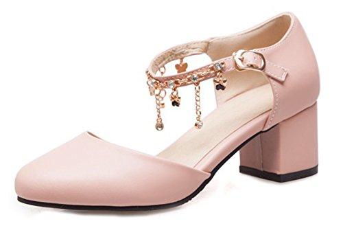 Rosa Moda Aisun Tacco Femminile Alla Cinturino Strass Caviglia Frangia p0wwfdqrx