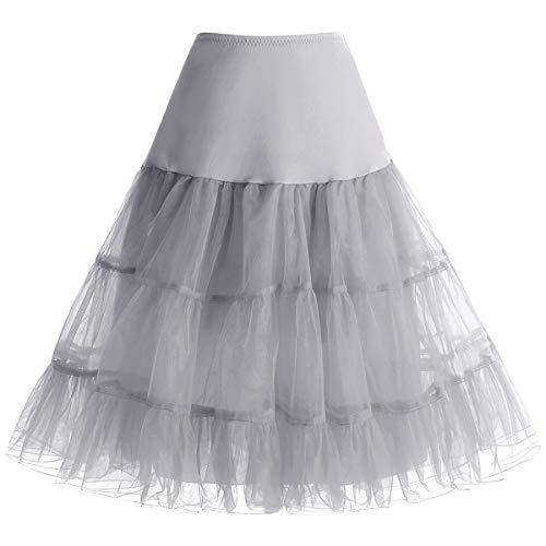 bbonlinedress Organza 50s Vintage Rockabilly Petticoat Underskirt Grey ()