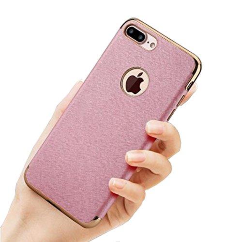 Iphone 6/6s Plus Hüll,SUNAVY Gitter Muster wie Haut Weich Luxuriös Schutzhülle Anti-stoß Ultradünne Tasche Schale Zubehör Gehäuse Rahmen Etui Hülle Case für Apple 6/6S Plus,5.5zoll,RoseRot Rosa
