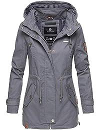 Marikoo Damen Jacke Frühling Übergangsjacke leicht Parka Mantel Kapuze B690