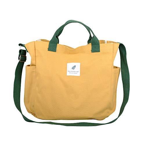 Nlyefa Canvas Damen Große Umhängetasche Einkaufstasche Henkeltasche Canvas Handtasche Shopper Tasche für Mädchen Schule Einkäufe (Gelb)