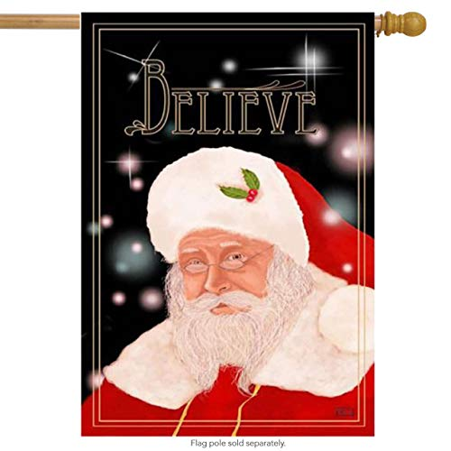 ASKYE Believe Garden Flag with Santa and Sky on it. Large Porch Flag for Party Outdoor Home Decor(Size: 12.5inch W X 18 inch H) -