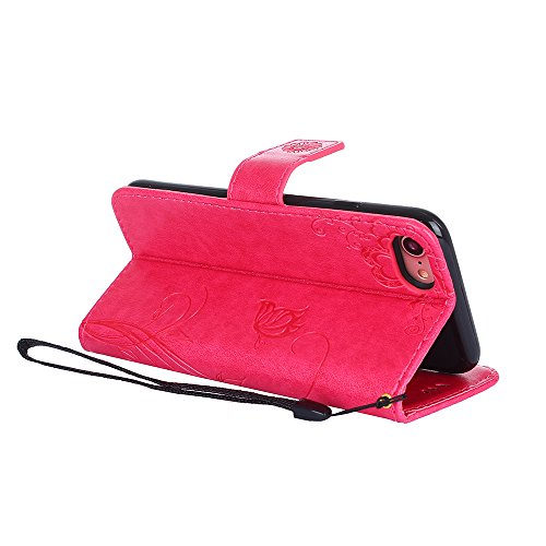 Cover per iPhone 8 / iPhone 7, Vectady Cover Custodia in Pelle a Libro Portafoglio Wallet Magnetica Flip Cuoio Leather Case Protettiva Antiurto Caso con Porta Carte Funzione Cinturino da Polso Disegni Rosa Rosso Colore