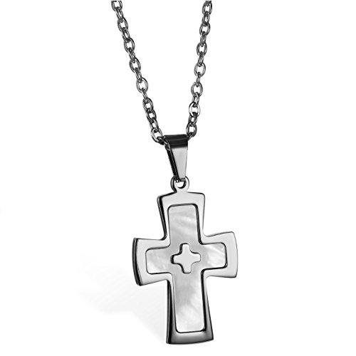JewelryWe Schmuck Edelstahl Poliert Kruzifix Kreuz Anhänger mit Synthetisch Muschel Schale Inlay mit 55cm Kette, Halskette für Herren und Damen, Silber, mit Kostenlos Gravur