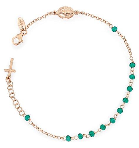 Bracciale Rosario AG925 - Cristalli Verdi - Croce Charm - Amen Collection