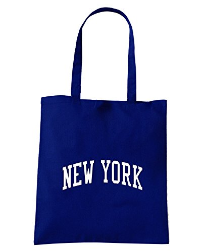 T-Shirtshock - Borsa Shopping TSTEM0132 vintage new york in blue logo Blu Navy