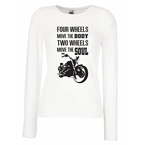 N4685M Weibliche langen Ärmeln T-Shirt The bike t shirts (X-Large Weiß Mehrfarben)