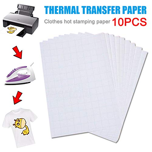 Dastrues 10 PCS Fabric Decal Paper Heat Transfer Printable T-Shirt Transfers, for Use on Light Fabrics for T-Shirt Light Color Clothing Home, Transfer Paper