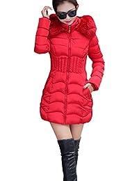 Mujer Abrigo Chaqueta Slim Fit Espesar Parka Con Capucha Manga Larga