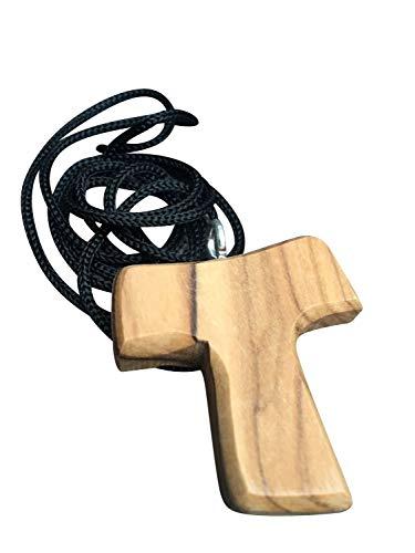 Motivationsgeschenke Schmuck Kreuz Anhänger Tau 3,5 cm Kruzifix Olivenholz Bethlehem Holzkreuz