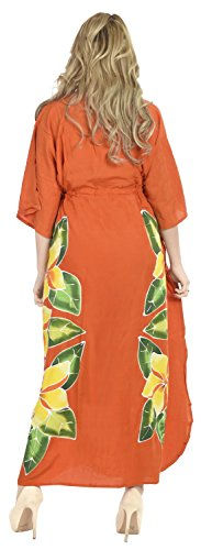 La Leela Smooth Gentle Rayon Hand Paint Long Kaftan Kimono Cover up Women- Free Gift Necklace – Beach Evening Casual Swimwear Dress Night Gown Orange