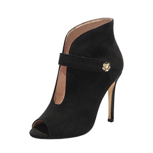 Agodor Damen Peep Toe Sommer Ankle Boots mit Stiletto und Klettverschluss High Heels Sandalen Moderne Schuhe